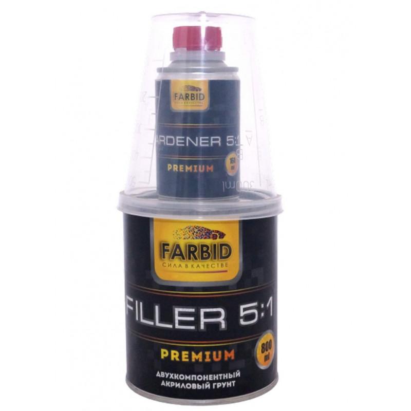 Грунт-наполнитель двухкомпонентный акриловый, серый Farbid premium 5+1 (0,8л + отв.0,16л)