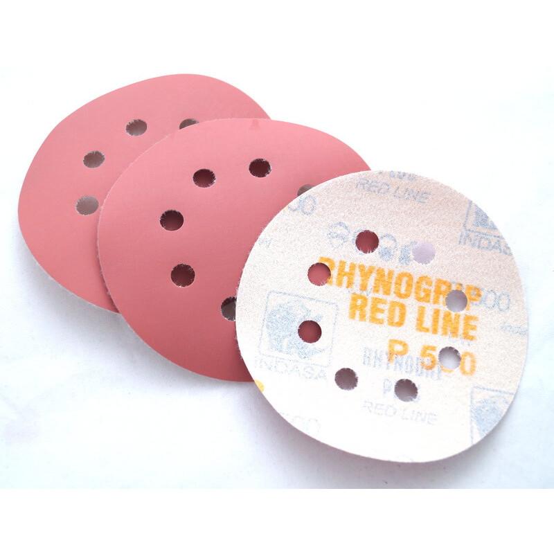 Абразивные диски Indasa Rhynogrip Red Line d 125мм, 8 отверстий