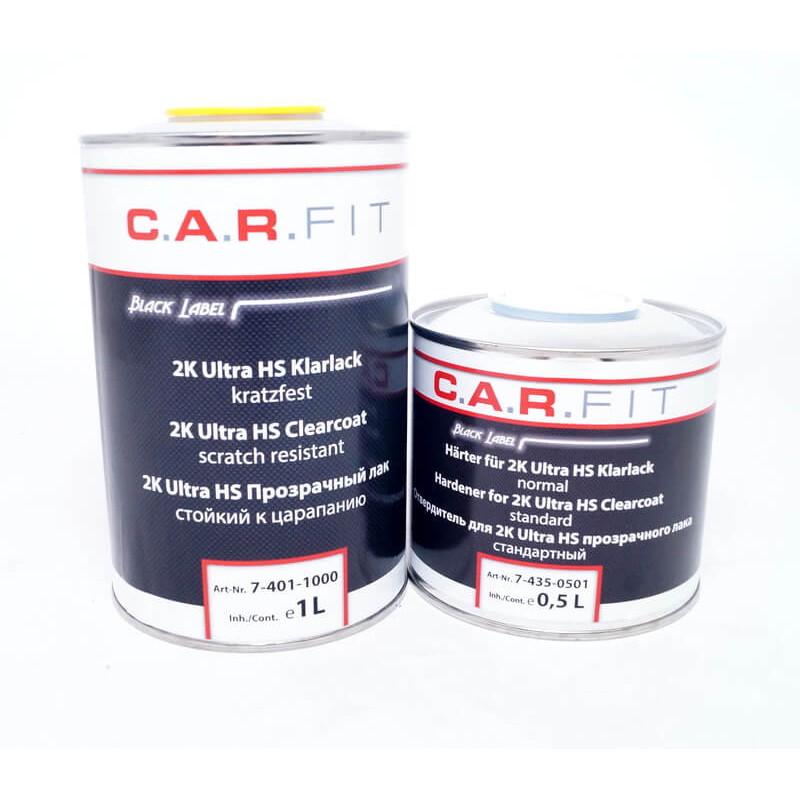 Лак стойкий к царапинам, прозрачный CARFIT 2K Ultra HS c отвердителем в комплекте, 1л + 0,5 л