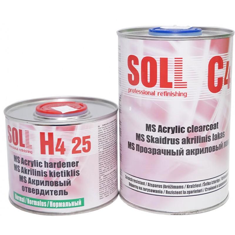 Акриловый лак SOLL MS 2:1 С4 с отвердителем H4 25 Normal